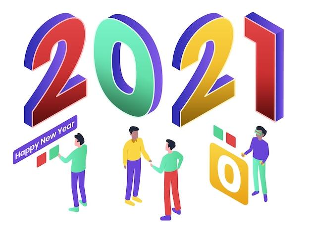 С новым годом изометрическая иллюстрация