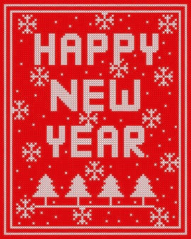 Happy new year knitted vector design on red background.