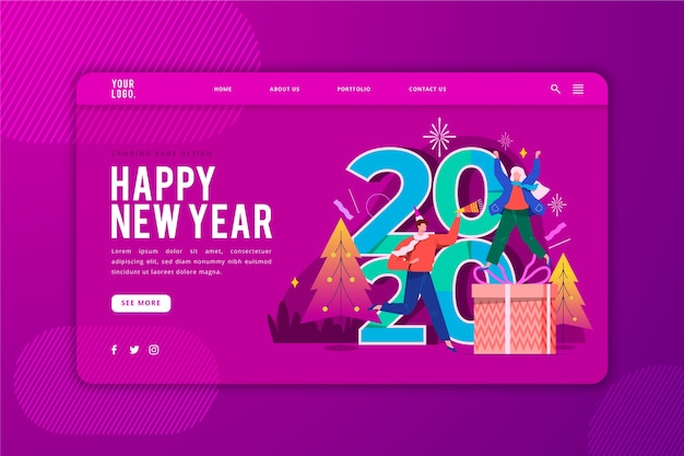 Happy new year landing page template