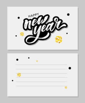 Happy new year lettering calligraphy with blank postcard copyspace