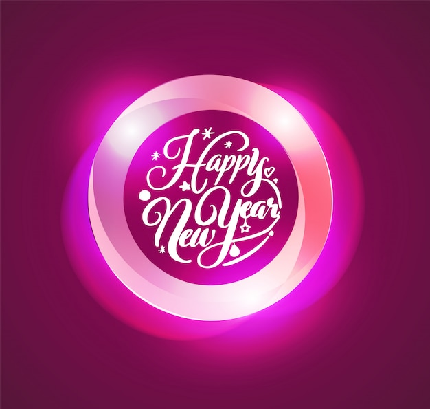 Happy new year lettering in circle abstract  illustration