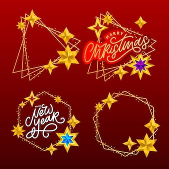 С новым годом. композиция надписи со звездами и блестками.