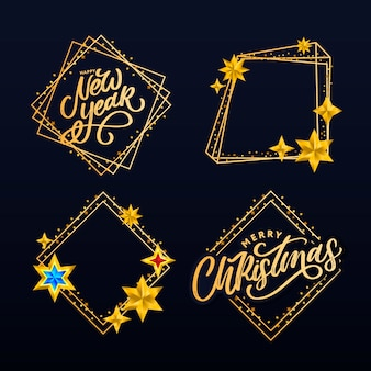 Happy new year. lettering composition with stars and sparkles.