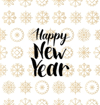 Happy new year lettering design on snowflakes background. christmas seamless pattern. happy holidays card, poster concept.