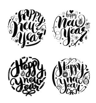 Happy New Year lettering Greeting Card design