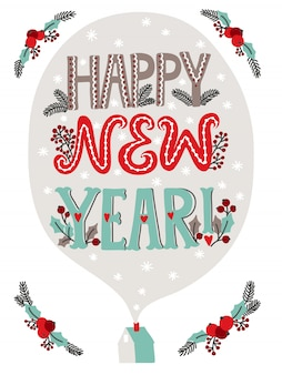 Happy new year lettering greeting card with christmas decoration