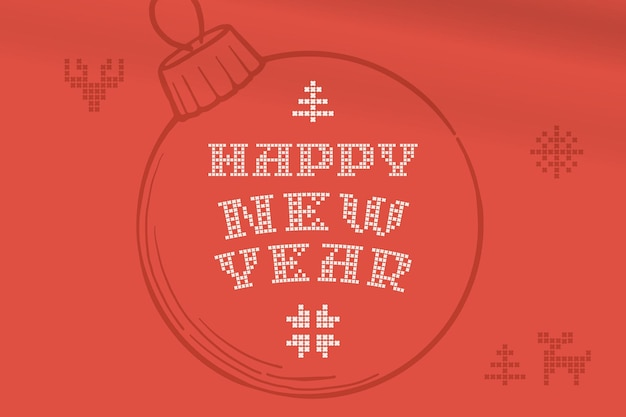 Happy new year lettering is made of thick round knits flat style sign with a set of bonus icons