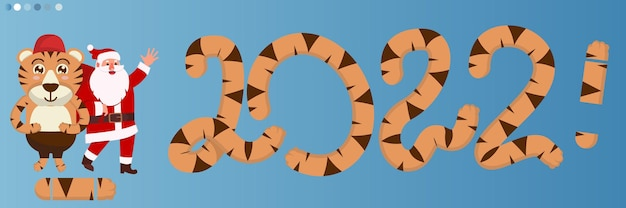 Happy new year lettering and large tiger numbers 2022. year of the tiger. striped 2022. orange, ginger, yellow numbers 2022