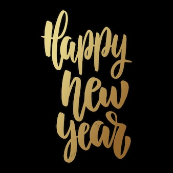 Happy new year. lettering phrase on dark background. design element for poster, card, banner.