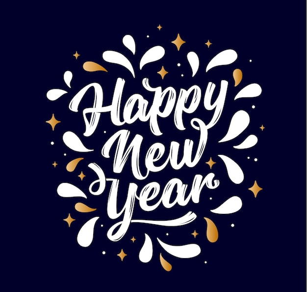 Happy new year. lettering text for happy new year or merry christmas. greeting card, poster, banner with script text happy new year. holiday background with golden graphic. vector illustration