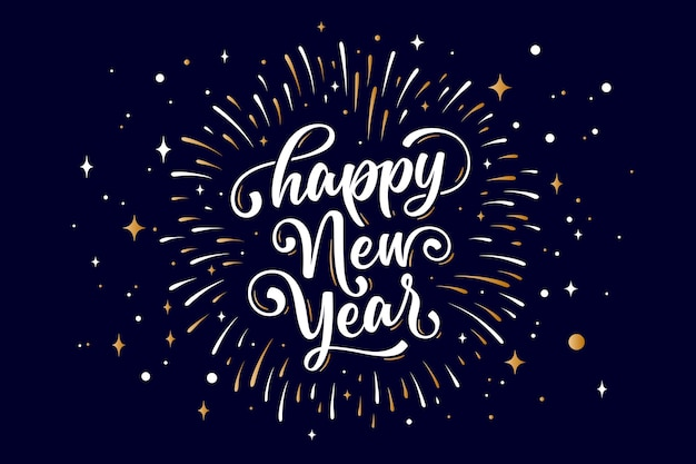 Happy new year. lettering text for happy new year or merry christmas. greeting card, poster, banner with text happy new year. holiday background with golden graphic fireworks. vector illustration