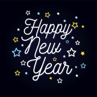 Happy new year lettering text for happy new year