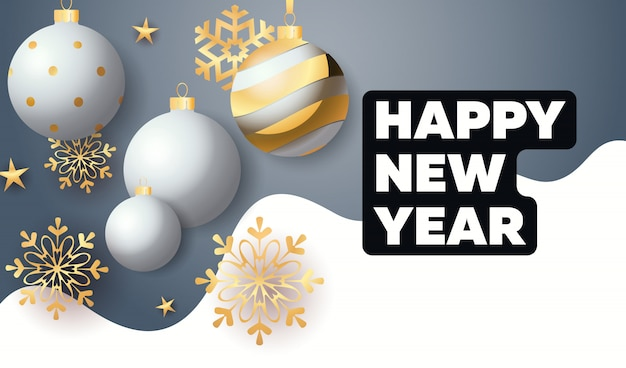 Happy new year lettering with baubles and snowflakes
