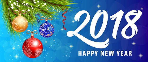 Happy new year lettering with baubles