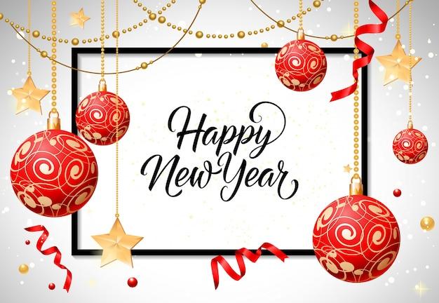 Felice anno nuovo lettering con baubles