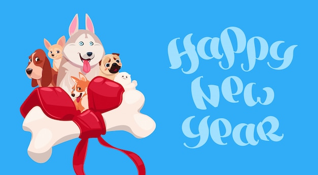 Happy new year lettering with cute dog on decorated bone background