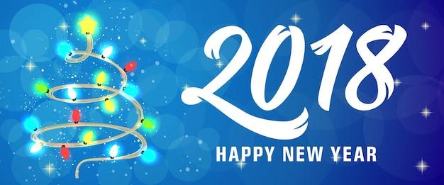 Felice anno nuovo lettering con luci fiabesche