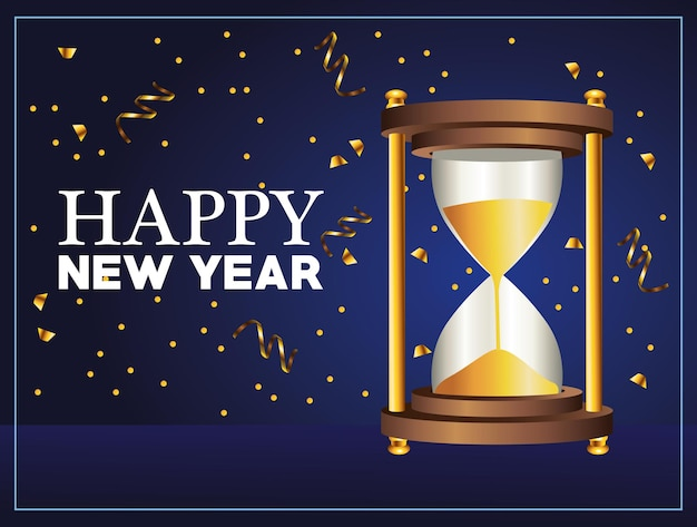 Happy new year lettering with golden hourglass illustration