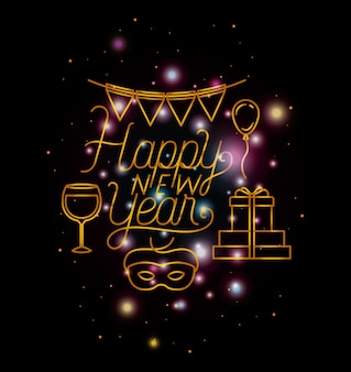 Happy new year lettering with lights and icons