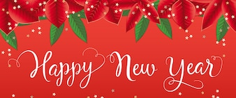 Happy New Year lettering with poinsettia leaves