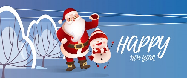 Happy new year lettering with santa claus and snowman