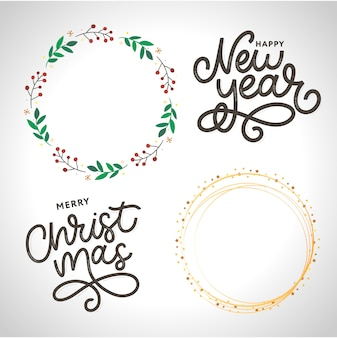 Happy new year lettering. wreath floral frame and merry christmas lettering