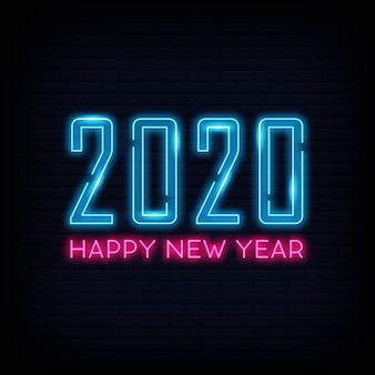 Happy new year light neon. poster light banner.