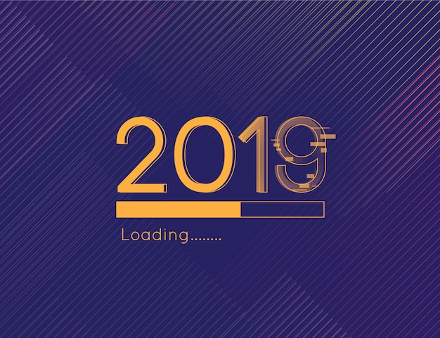 Happy new year loading progress 2019 distract font and gold dark background element