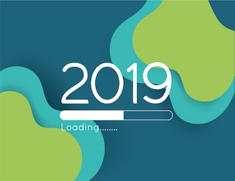 Happy new year loading progress 2019 illustration abstract green wave paper cut bar
