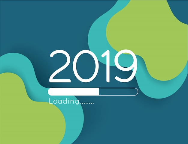 Happy new year loading progress 2019 illustration abstract green wave paper cut bar