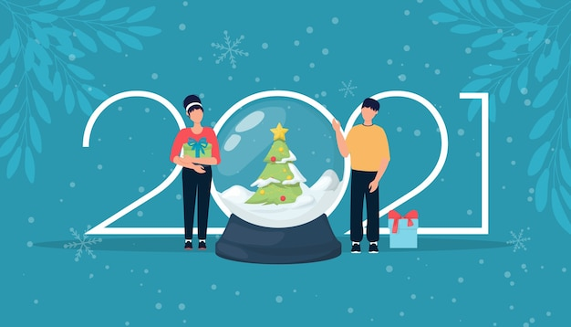 Happy new year man amd woman with gifts 2021 logo numbers. typography for 2021 new year celebration invite.