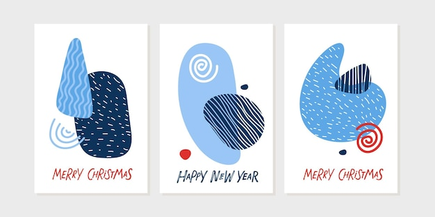 明けましておめでとうメリークリスマスポスターセットトレンディな抽象的な幾何学的なデザイン