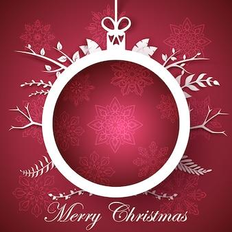 Happy new year, merry christmas ball - winter illustration.