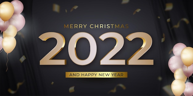 Happy new year and merry christmas banner with confetti on dark background
