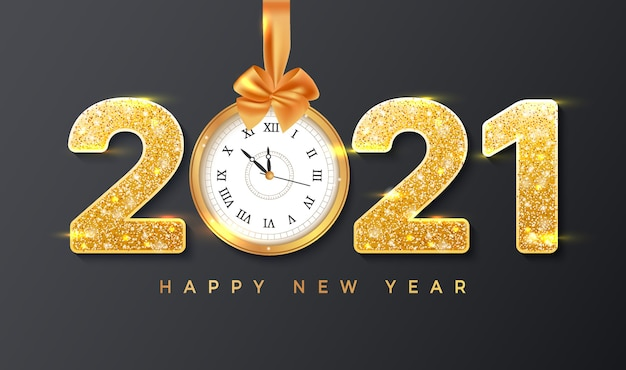 Happy new year merry christmas card template with realistic golden numbers and wall clock