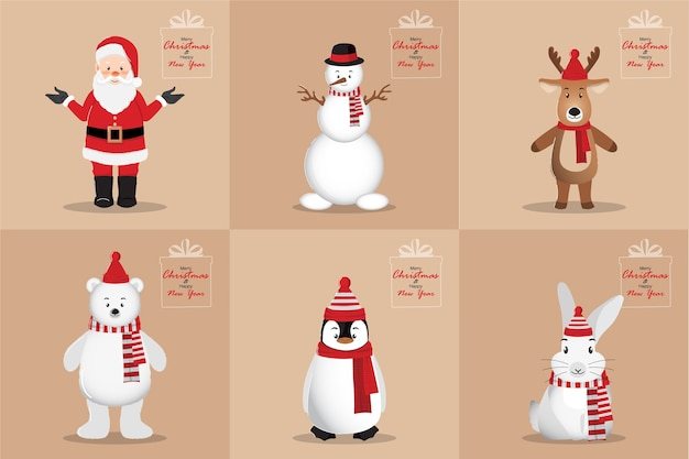 Happy new year and merry christmas card with santa clause, snowman, penguin, white bear, rabbit, and deer cartoon character