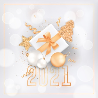 Happy new year or merry christmas elegant greeting card with gift box, fir trees and festive decoration in white and gold color glitter on blurred background with 2021 typography. vector illustration