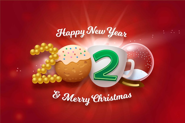 Happy new year and merry christmas funny background