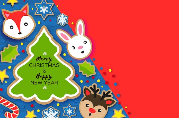 Happy new year and merry christmas greeting card. christmas gingerbread paper cut style. animals. deer, fox, rabbit. christmas tree frame. winter holidays. vector.