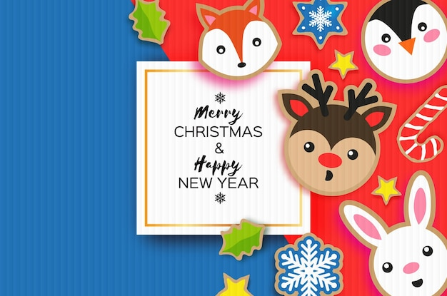 Happy new year and merry christmas greeting card. christmas gingerbread paper cut style. animals. deer, fox, rabbit, penguin. square frame. winter holidays.