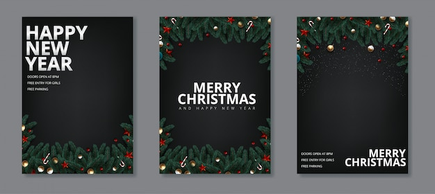 Happy new year and merry christmas greeting card set