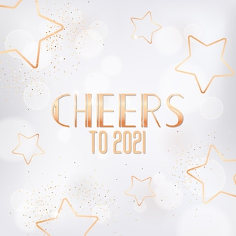 Happy new year or merry christmas greeting card with gold stars, glitter and cheers to 2021 typography. new year holiday season festive golden design on white blurred background, vector illustration