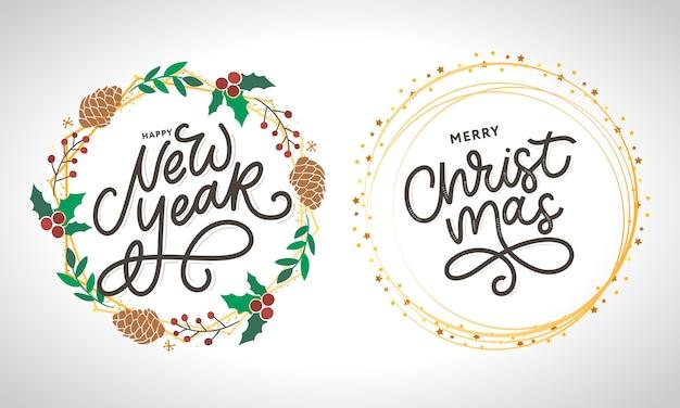 Happy new year and merry christmas handwritten modern brush lettering set