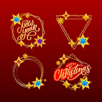 Happy new year and merry christmas lettering in golden frame. lettering composition with stars and sparkles. holiday  frame set