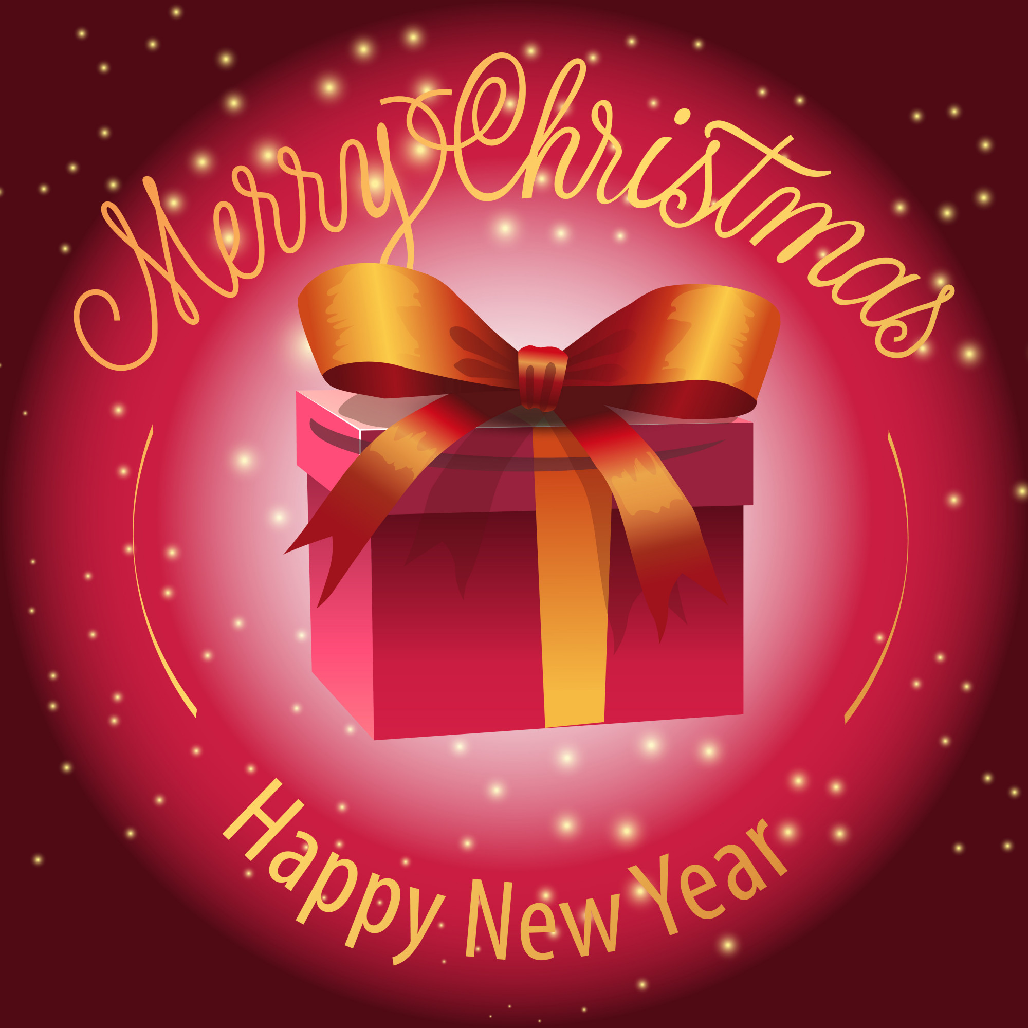Happy New Year, Merry Christmas lettering with gift box
