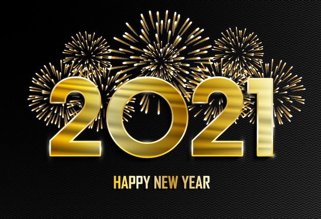 Happy new year and merry christmas  new year golden background with fireworks