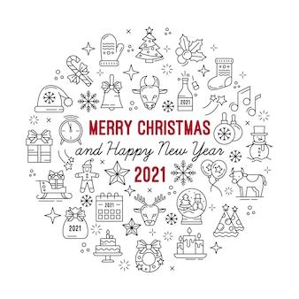 明けましておめでとう、メリークリスマスのアウトラインアイコンが設定されています。ステンシルの円イラスト