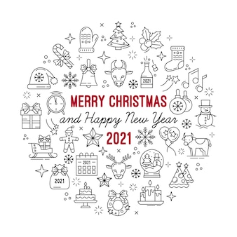 Happy new year, merry christmas outline icons set. circle illustration for stencil