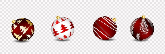 Happy new year and merry christmas realistic vector greeting card with christmas balls