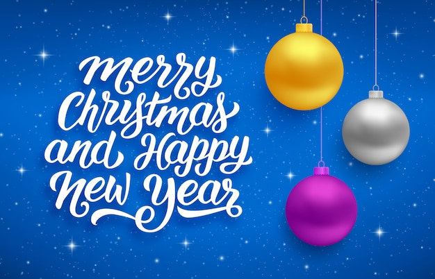 Happy new year and merry christmas vector card